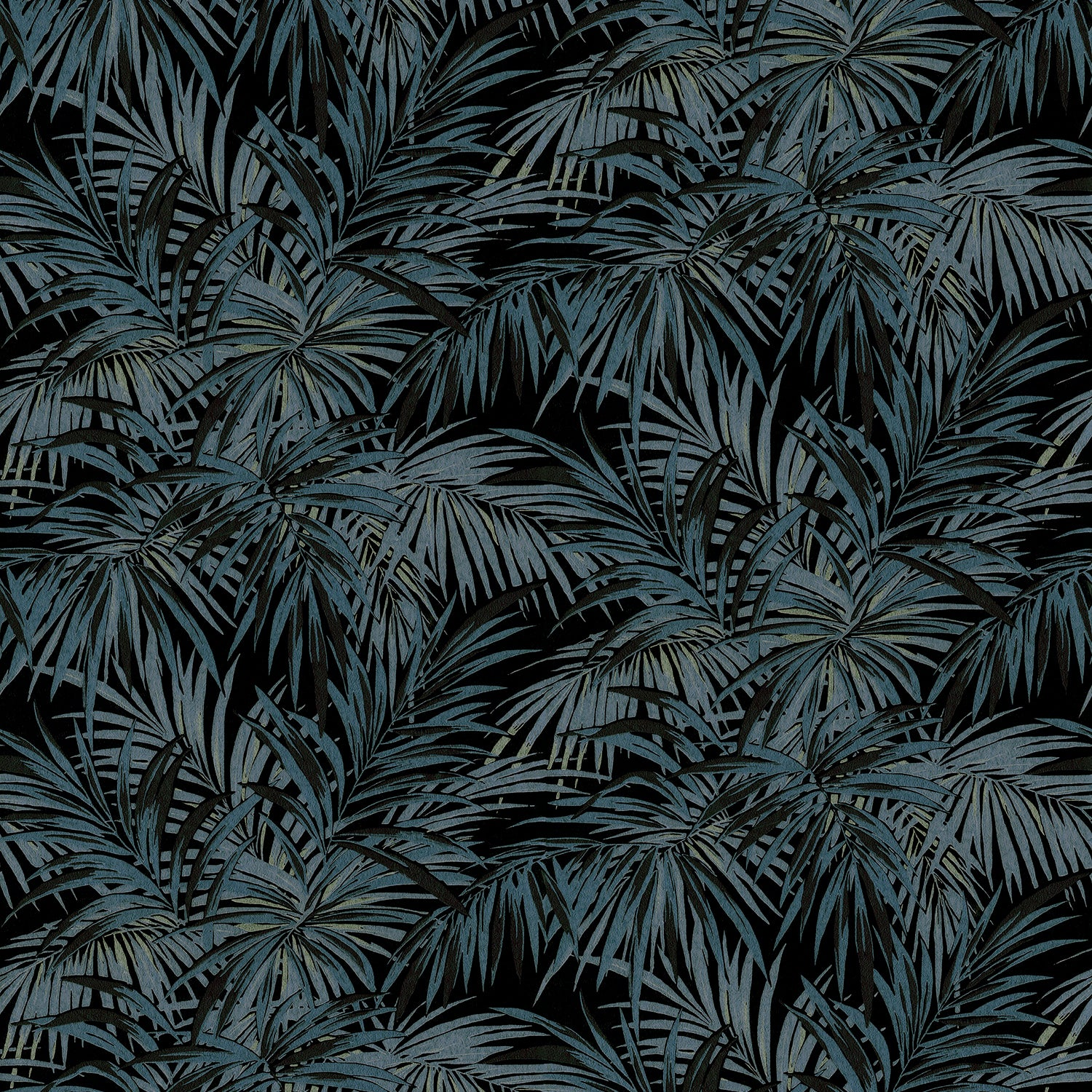 Fabric swatch of a smokey grey and black palm print design stain resistant velvet fabric for curtains or upholstery