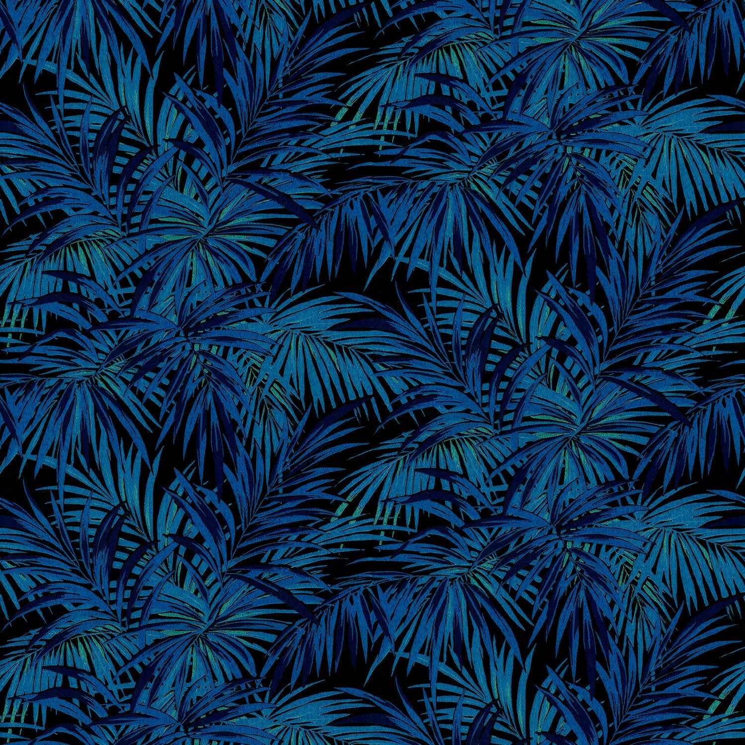 Fabric swatch of a electric blue and black palm print design stain resistant velvet fabric for curtains or upholstery