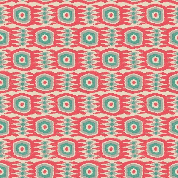 Fabric swatch of an abstract watermelon and teal stain resistant velvet fabric for curtains and upholstery