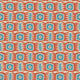 Fabric swatch of an abstract blue and orange stain resistant velvet fabric for curtains and upholstery