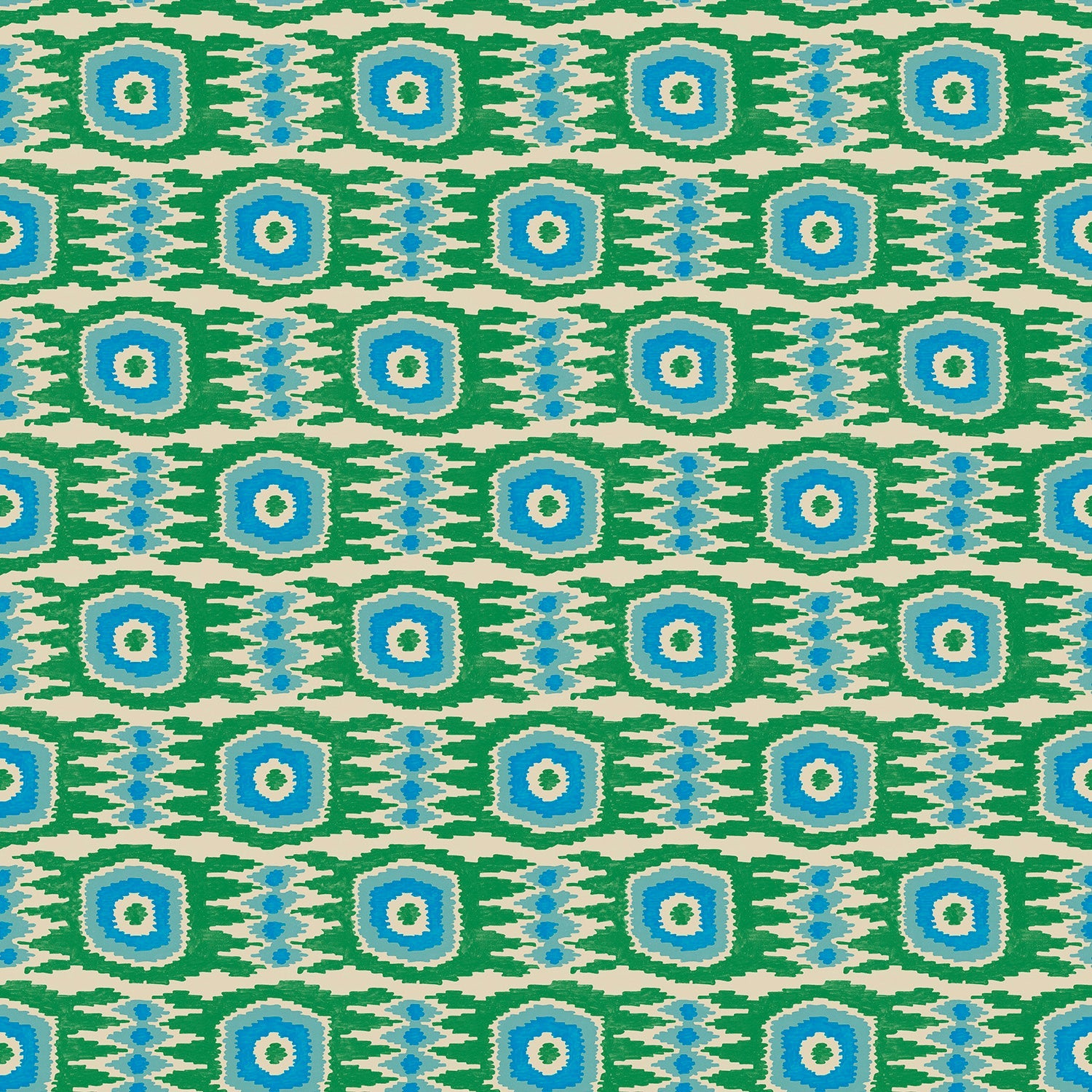Fabric swatch of an abstract blue and green stain resistant velvet fabric for curtains and upholstery