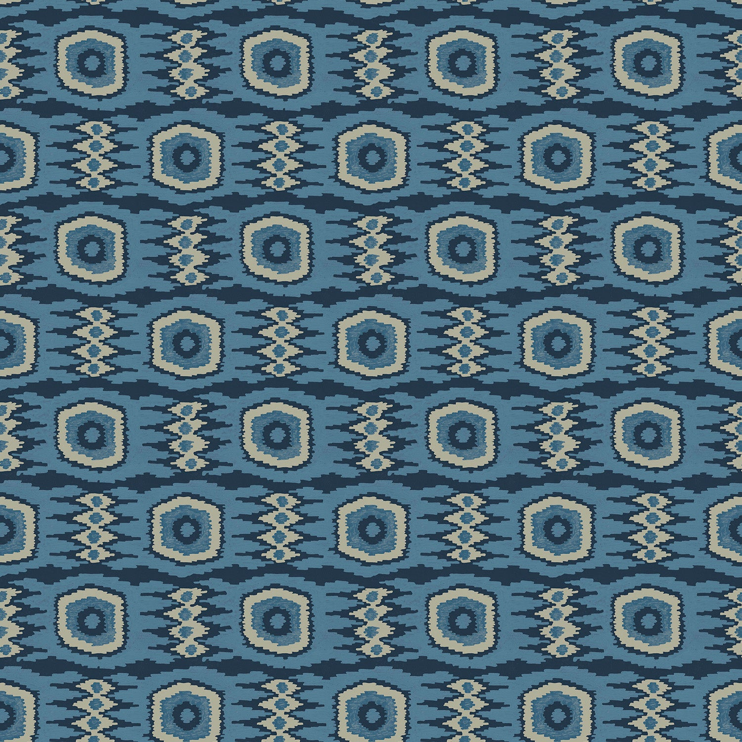 Fabric swatch of an abstract blue stain resistant velvet fabric for curtains and upholstery