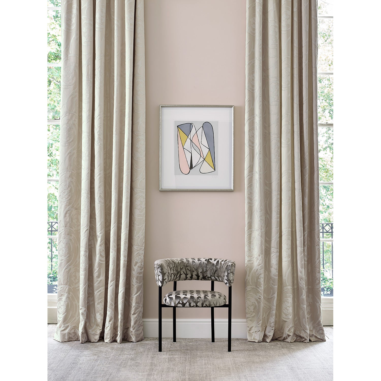 Curtain in luxury silk and cotton neutral coloured fabric with swirl design
