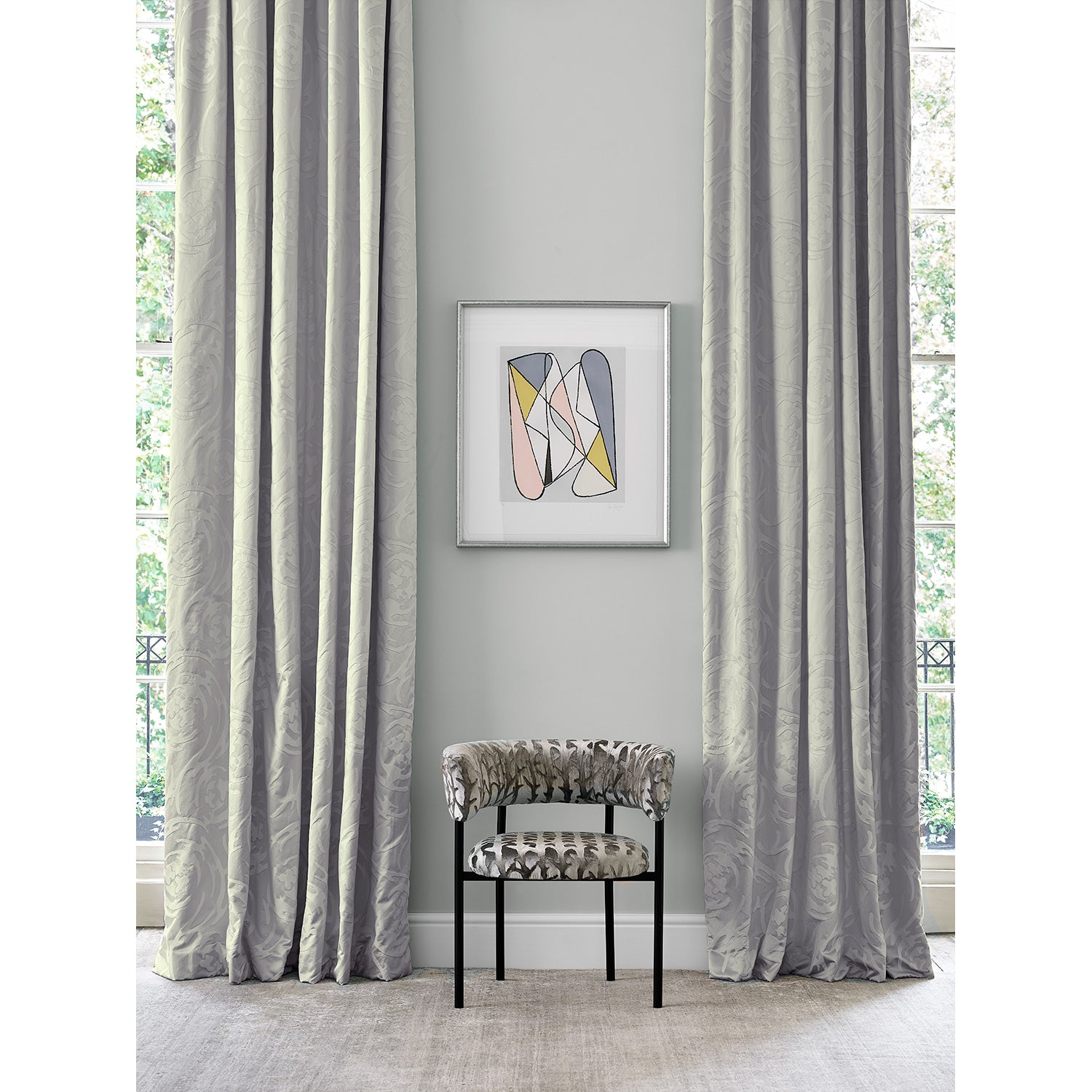 Curtain in luxury grey coloured silk and cotton fabric with swirl design