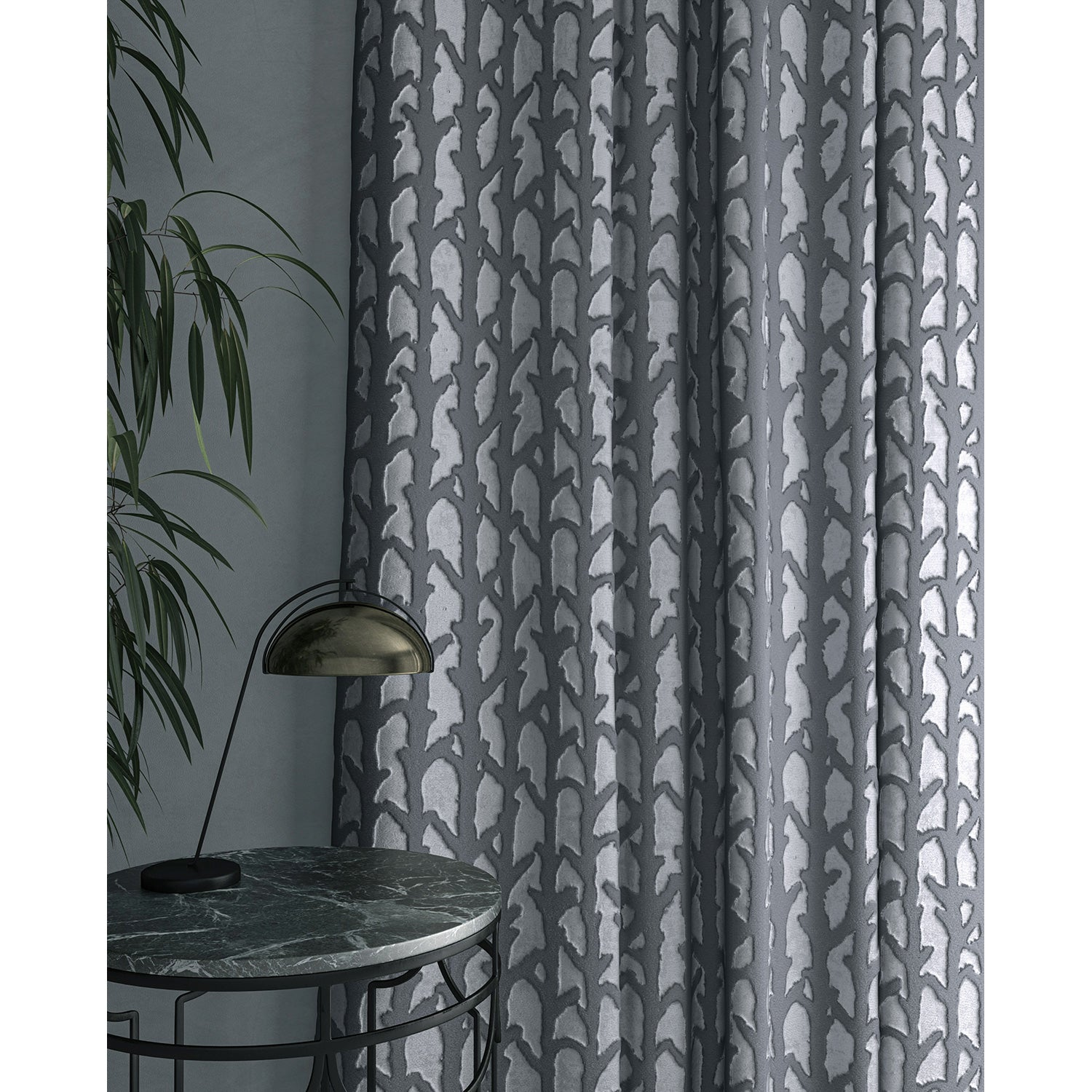 Curtain in luxury blue velvet fabric with abstract branch design