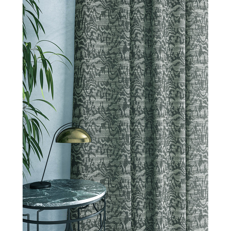 Curtain in a grey abstract weave fabric