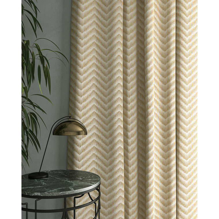 Curtain in a gold herringbone weave fabric