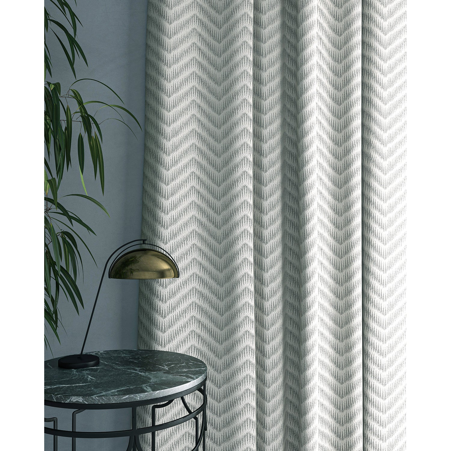 Curtain in a neutral herringbone weave fabric