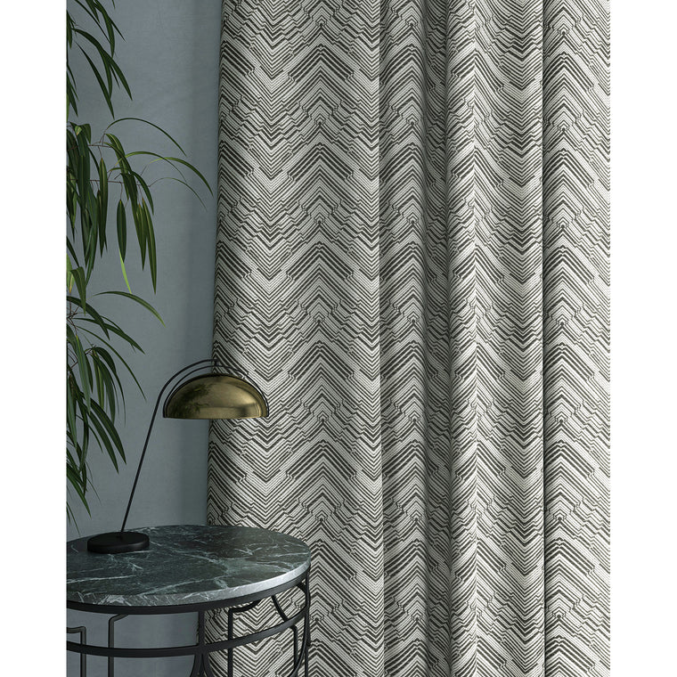 Curtain in a stain resistant dark neutral herringbone weave fabric