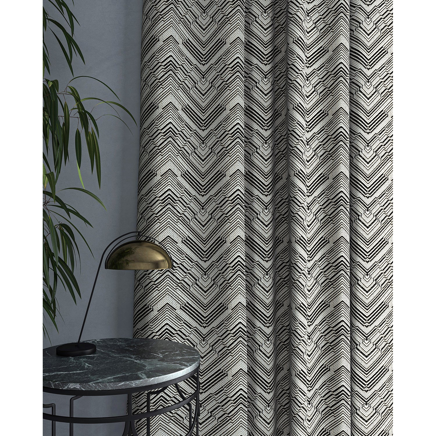 Curtain in a stain resistant grey herringbone weave fabric