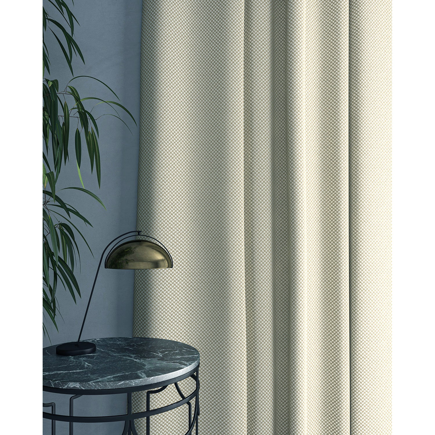 Curtain in beautiful cream stain resistant geometric weave fabric