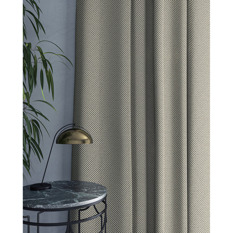 Curtain in beautiful grey stain resistant geometric weave fabric