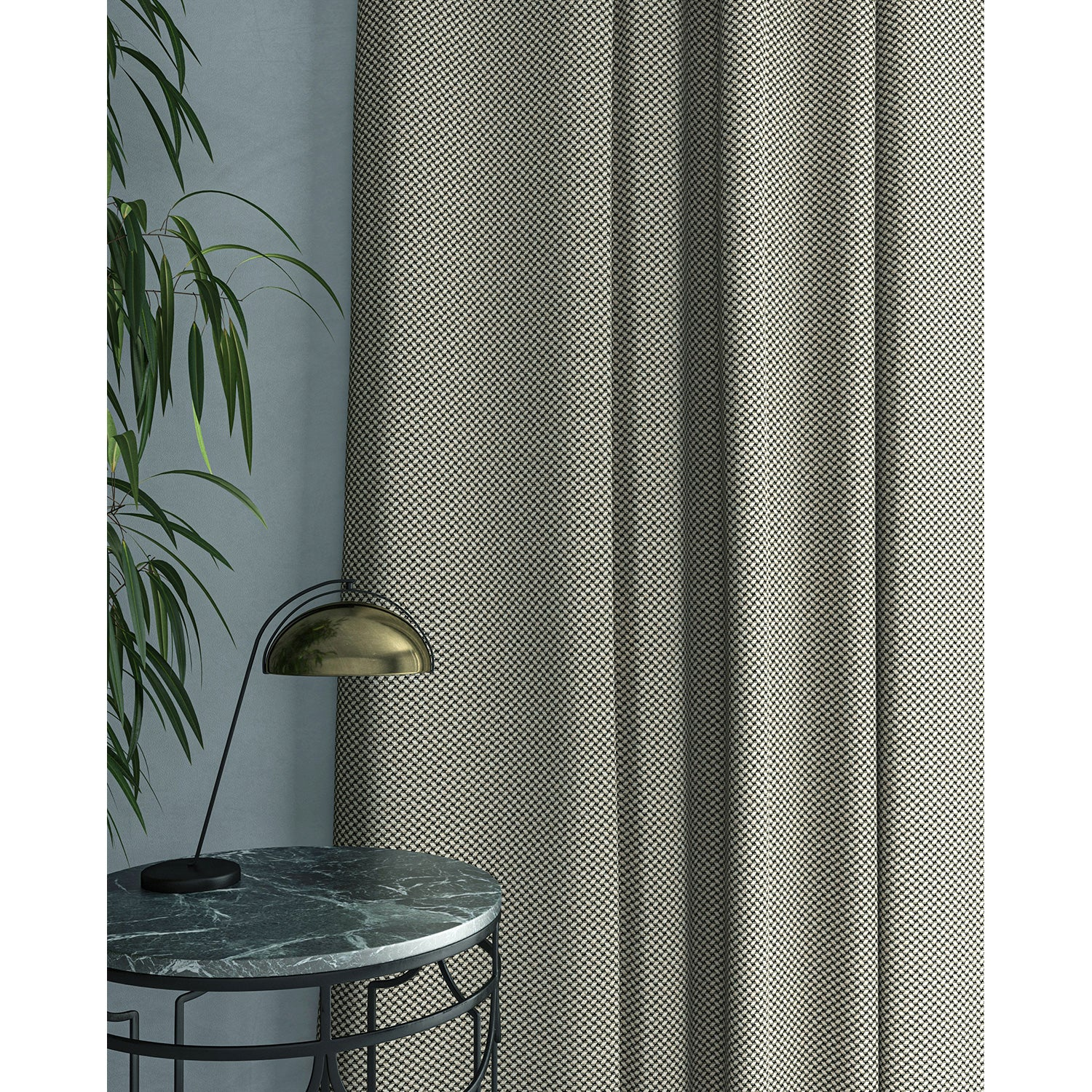 Curtain in beautiful dark grey stain resistant geometric weave fabric