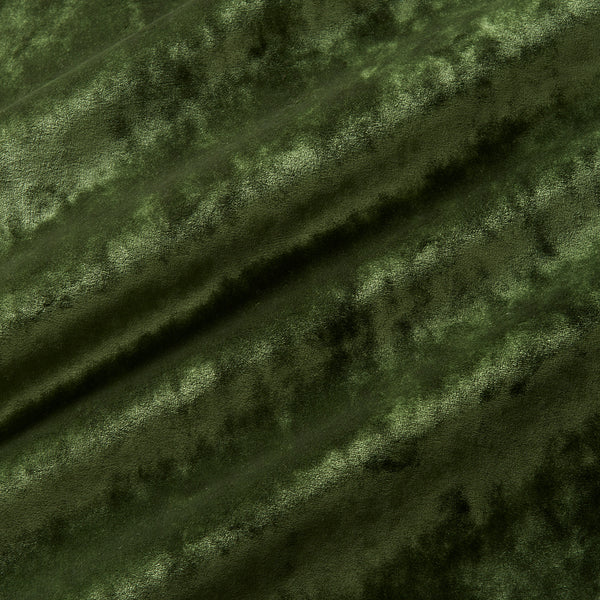 Luxury green crushed velvet fabric with stain resistant finish for curtains and upholstery