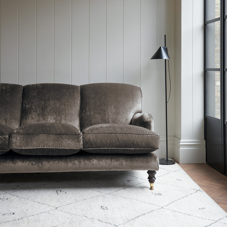 Velvet sofa in a dark grey crushed velvet upholstery fabric