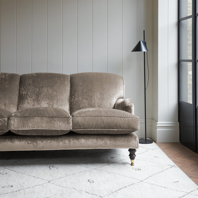 Velvet sofa in a grey crushed velvet upholstery fabric
