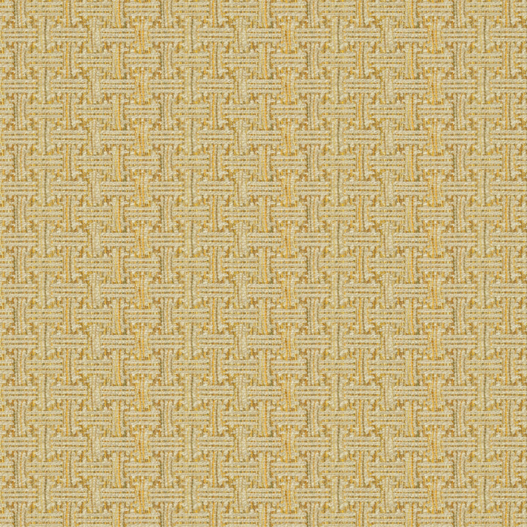 Fabric swatch of a stain resistant weave fabric with a geometric check design in yellow colours