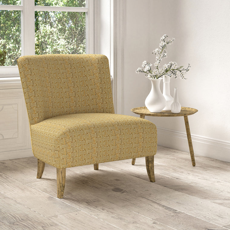 Chair upholstered in a stain resistant yellow fabric with geometric check design
