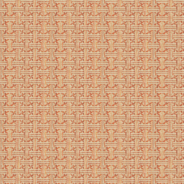 Fabric swatch of a stain resistant weave fabric with a geometric check design in red colours