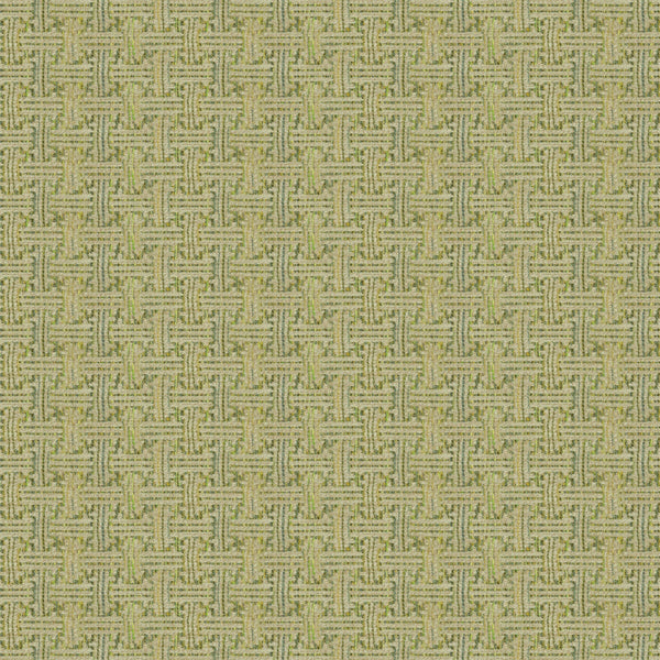 Fabric swatch of a stain resistant weave fabric with a geometric check design in green colours