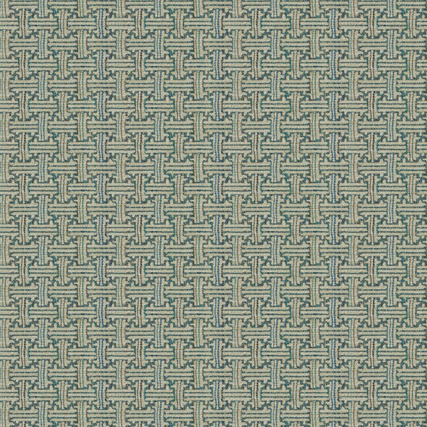 Fabric swatch of a stain resistant weave fabric with a geometric check design in blue colours