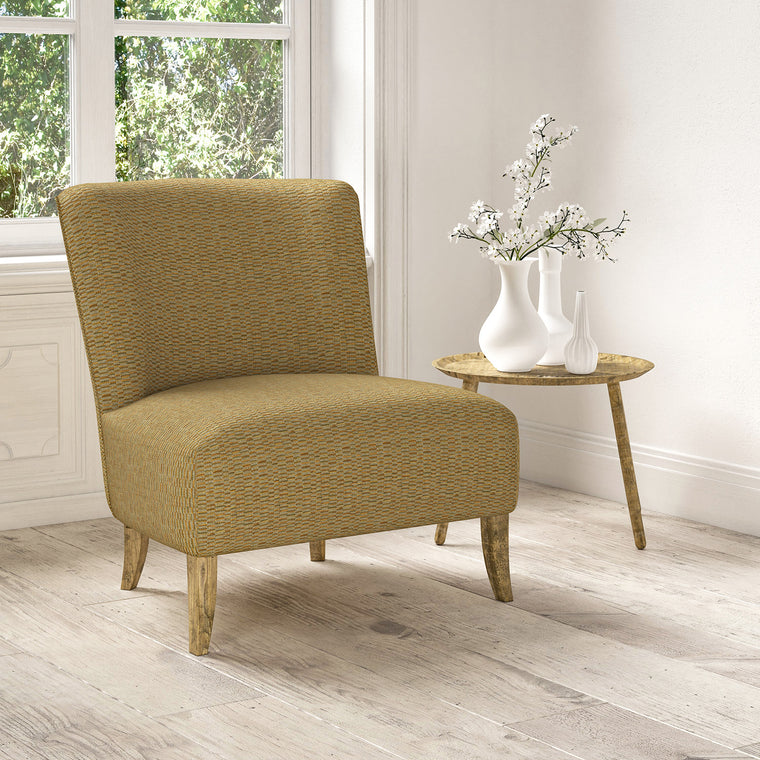 Chair upholstered in a stain resistant yellow fabric with broken stripe design