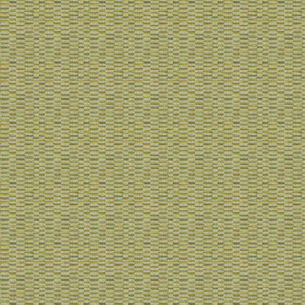 Fabric swatch of a stain resistant weave fabric with a broken stripe design in green colours