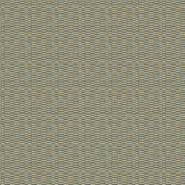 Fabric swatch of a stain resistant weave fabric with a broken stripe design in blue colours