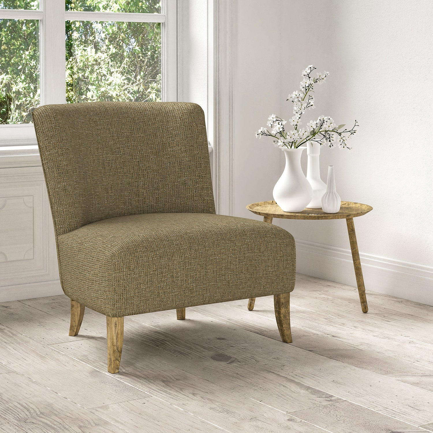 Chair upholstered in a stain resistant neutral fabric with a tweed design