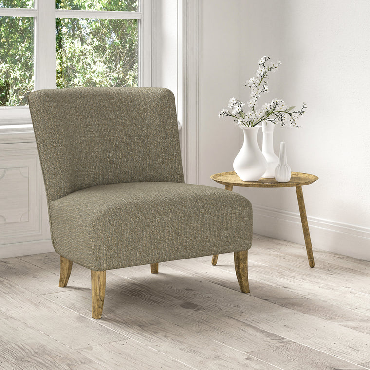 Chair upholstered in a stain resistant grey fabric with a tweed design