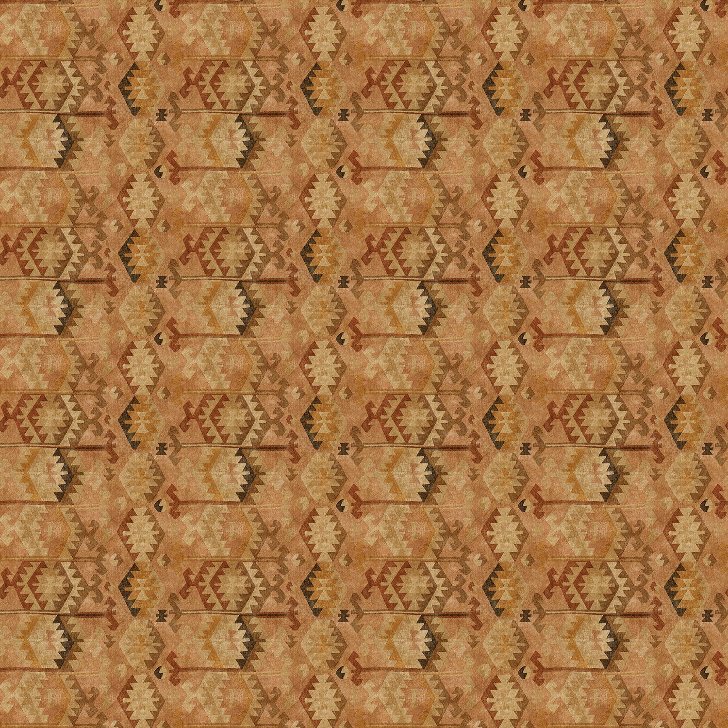 Brown velvet fabric with a vintage kilim inspired design and stain resistant finish