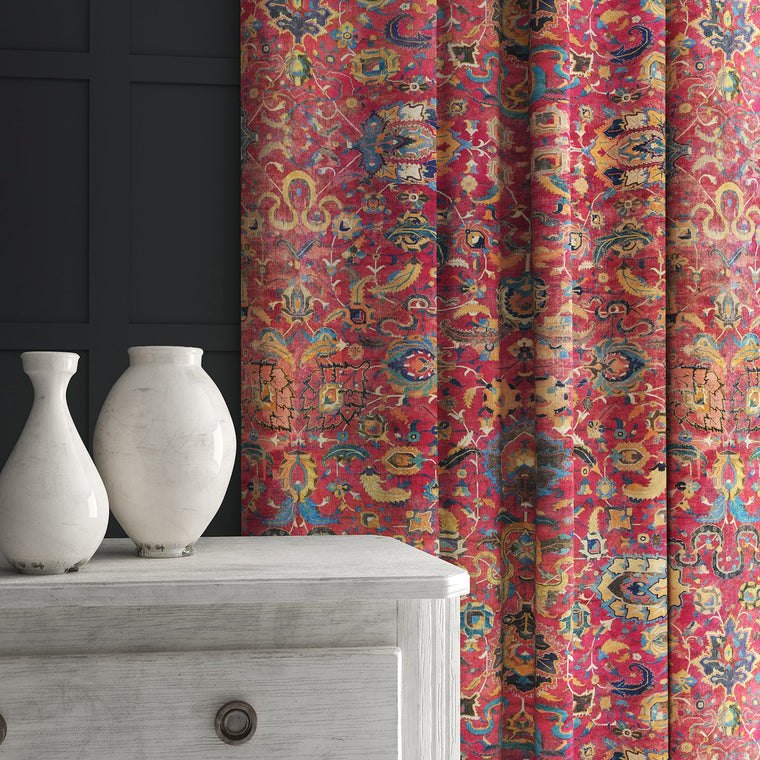 Velvet curtain in a pink and multicoloured velvet fabric with carpet design
