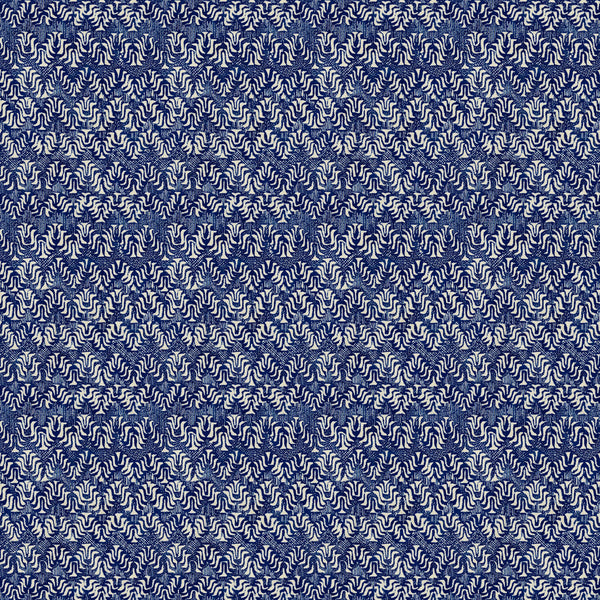 Blue velvet fabric with a modern colour block print and stain resistant finish