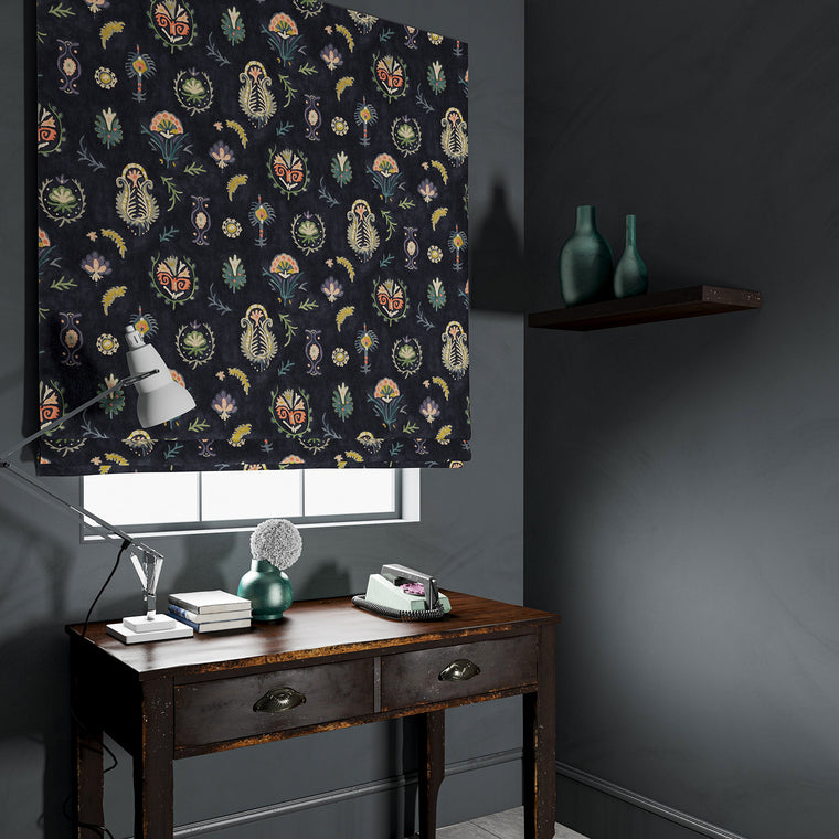 Blind in a dark, luxurious stain resistant velvet with whimsical design