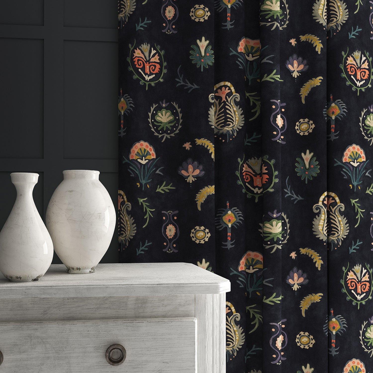 Curtain in a dark, luxurious stain resistant velvet with whimsical design