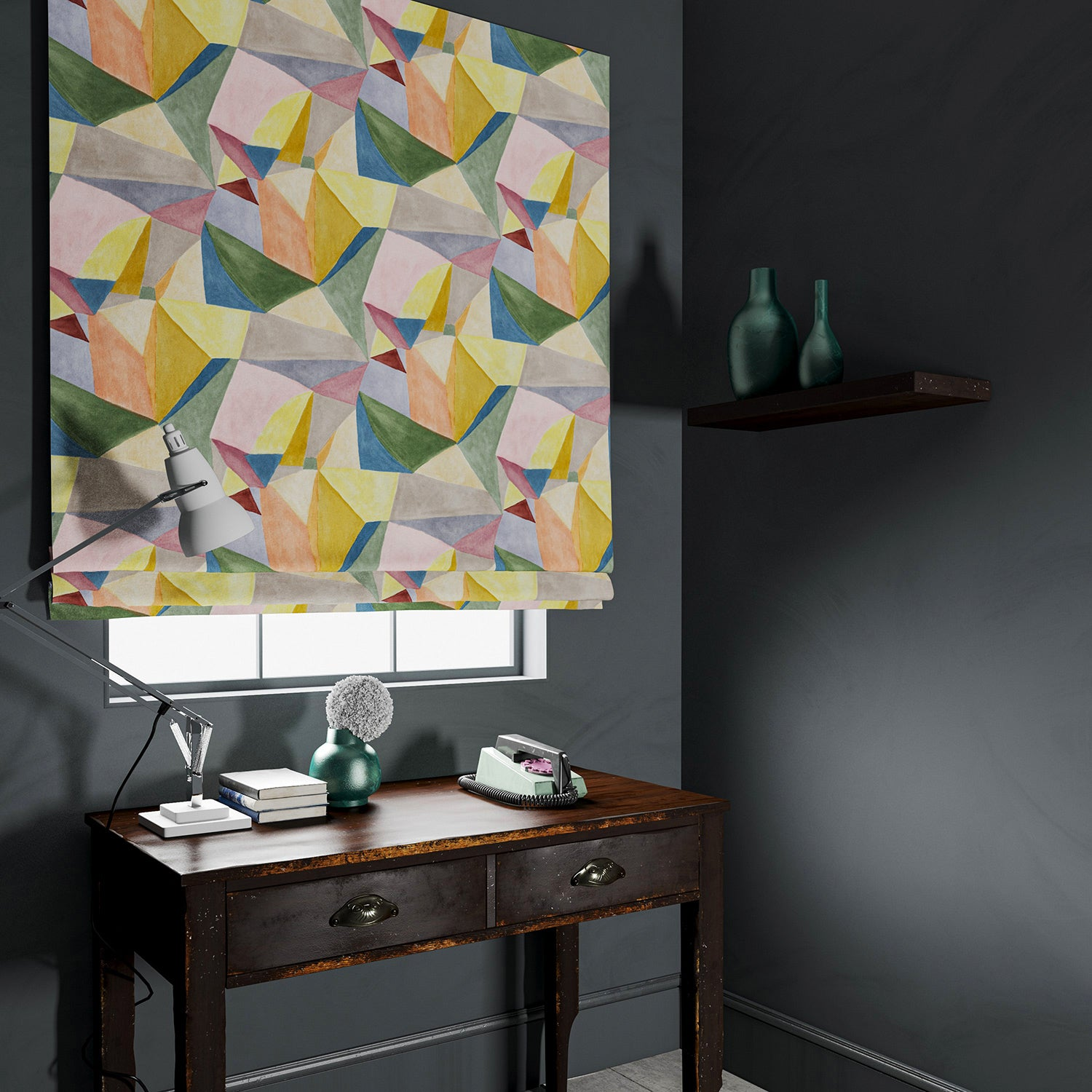 Blind in a multicoloured velvet fabric with a modern, geometric design