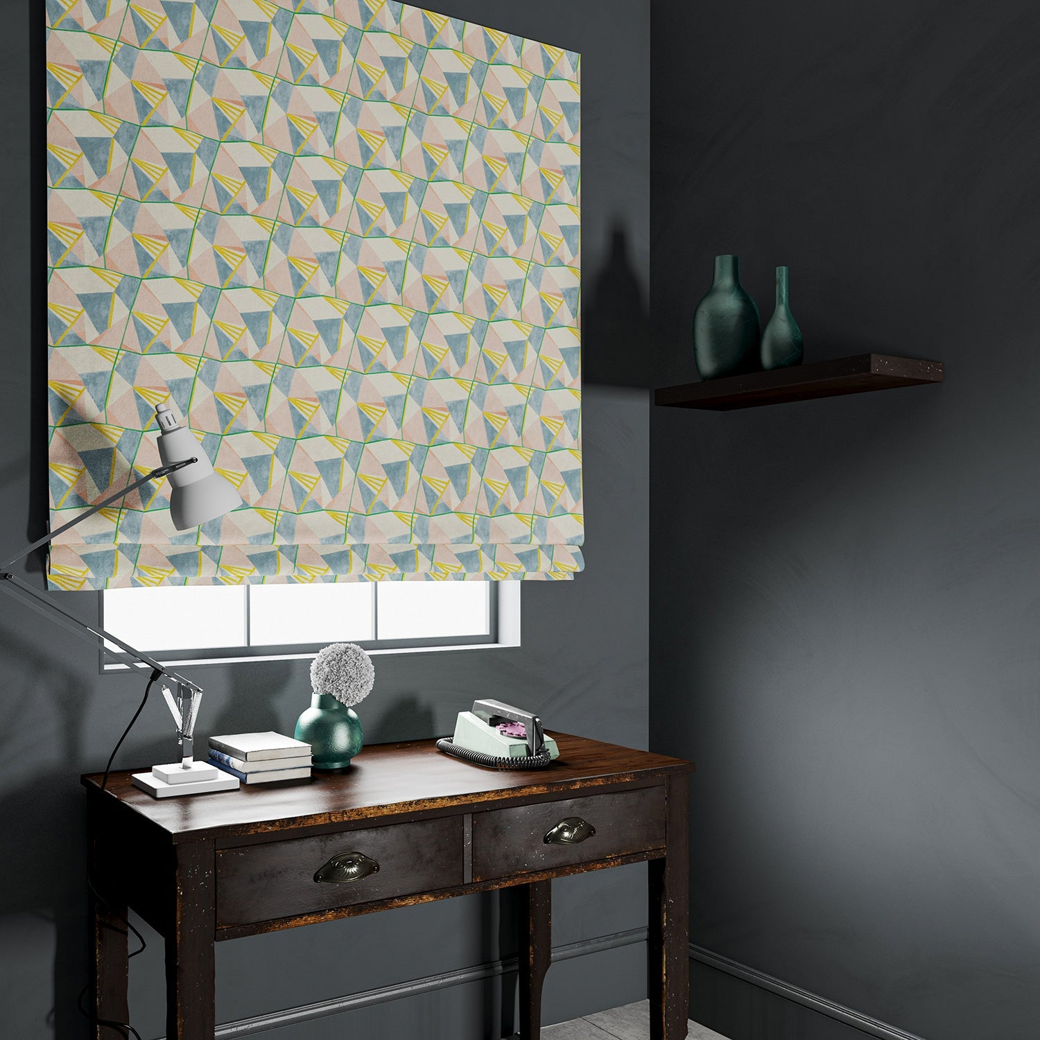 Velvet blind in a pastel coloured velvet fabric with modern geometric design