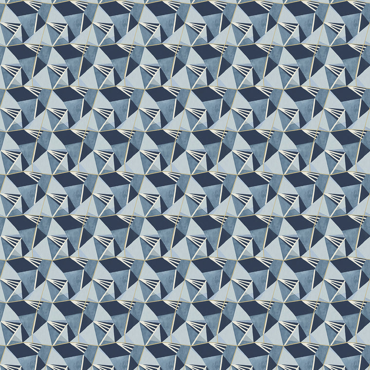 Blue velvet fabric with a modern geometric design and a stain resistant finish