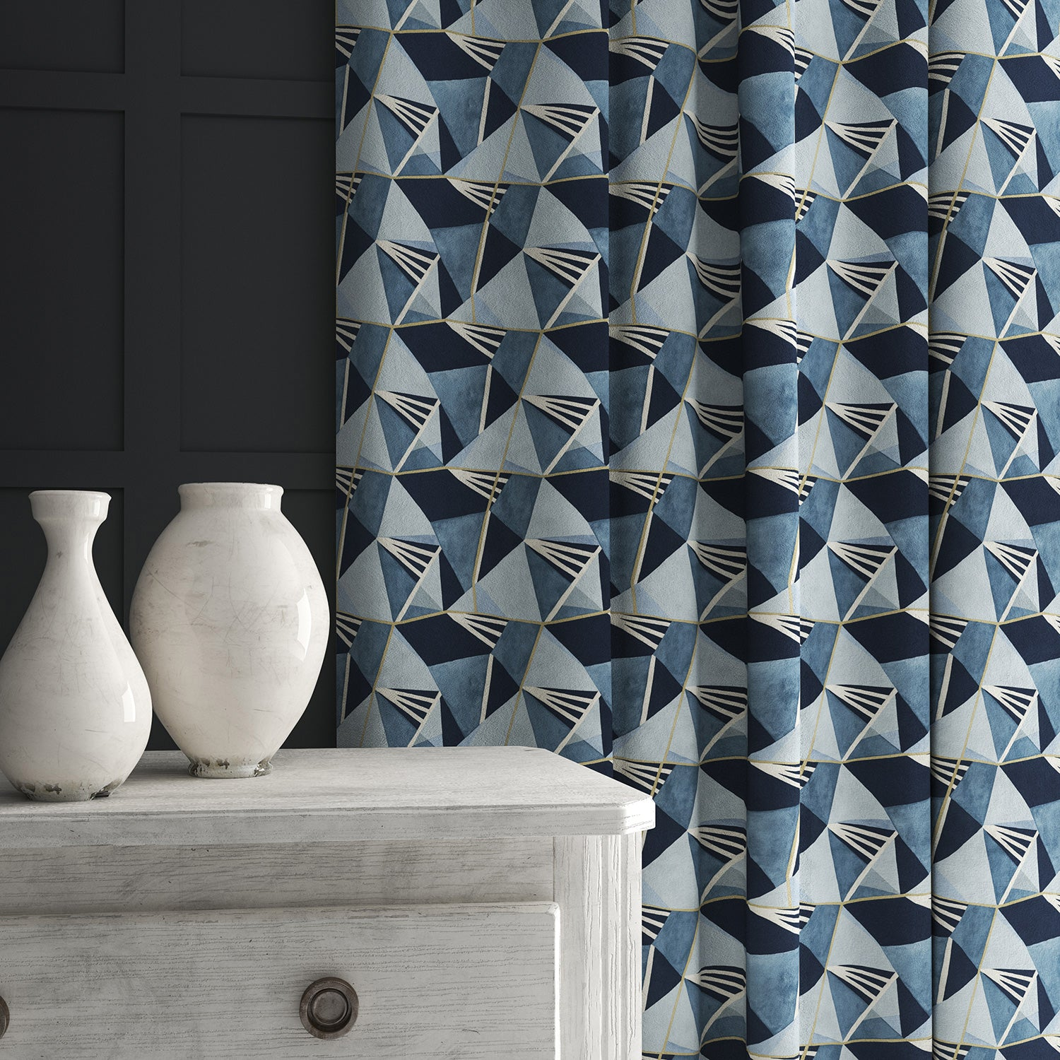 Curtain in a blue velvet fabric with modern geometric design