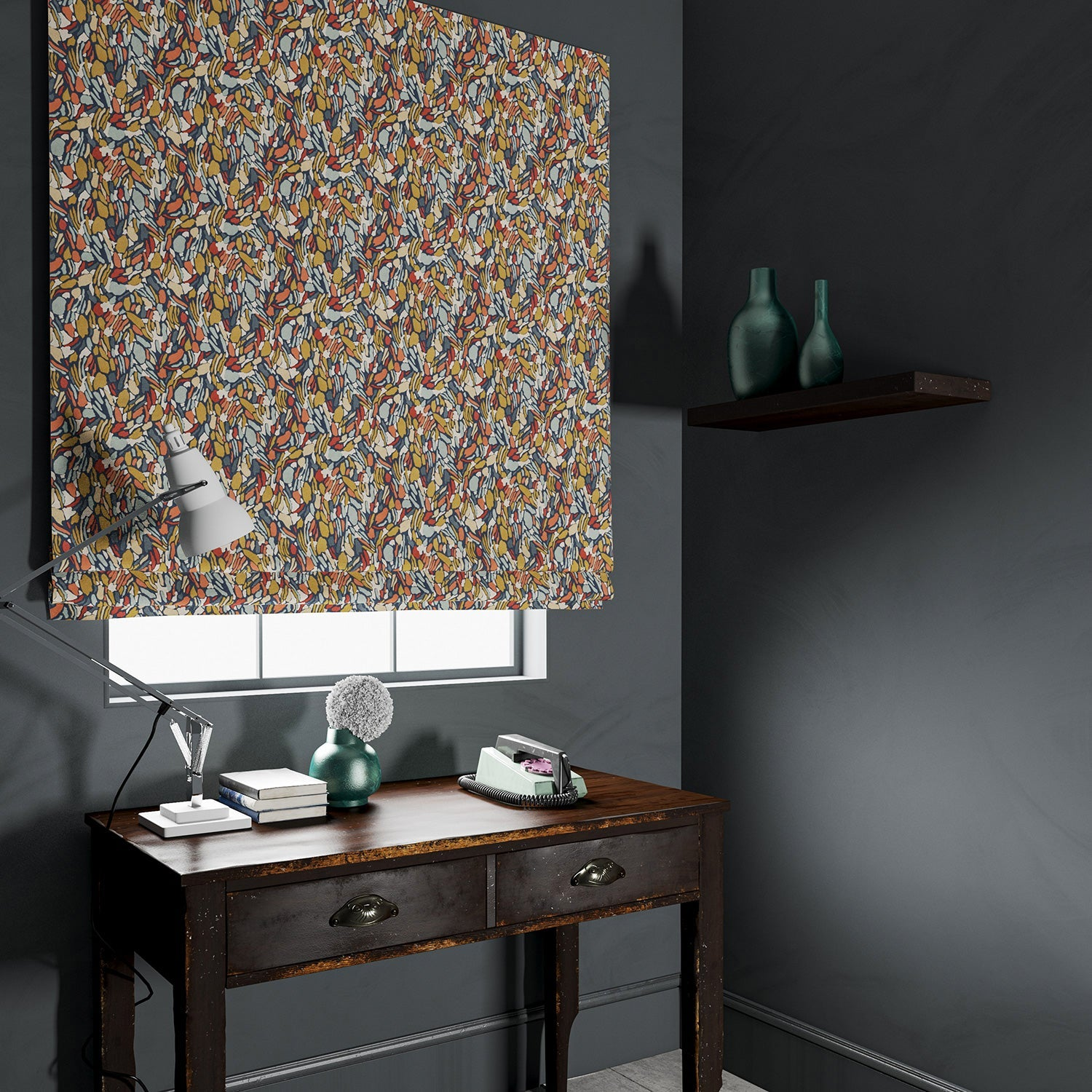 Blind in a velvet fabric with a abstract multicoloured design