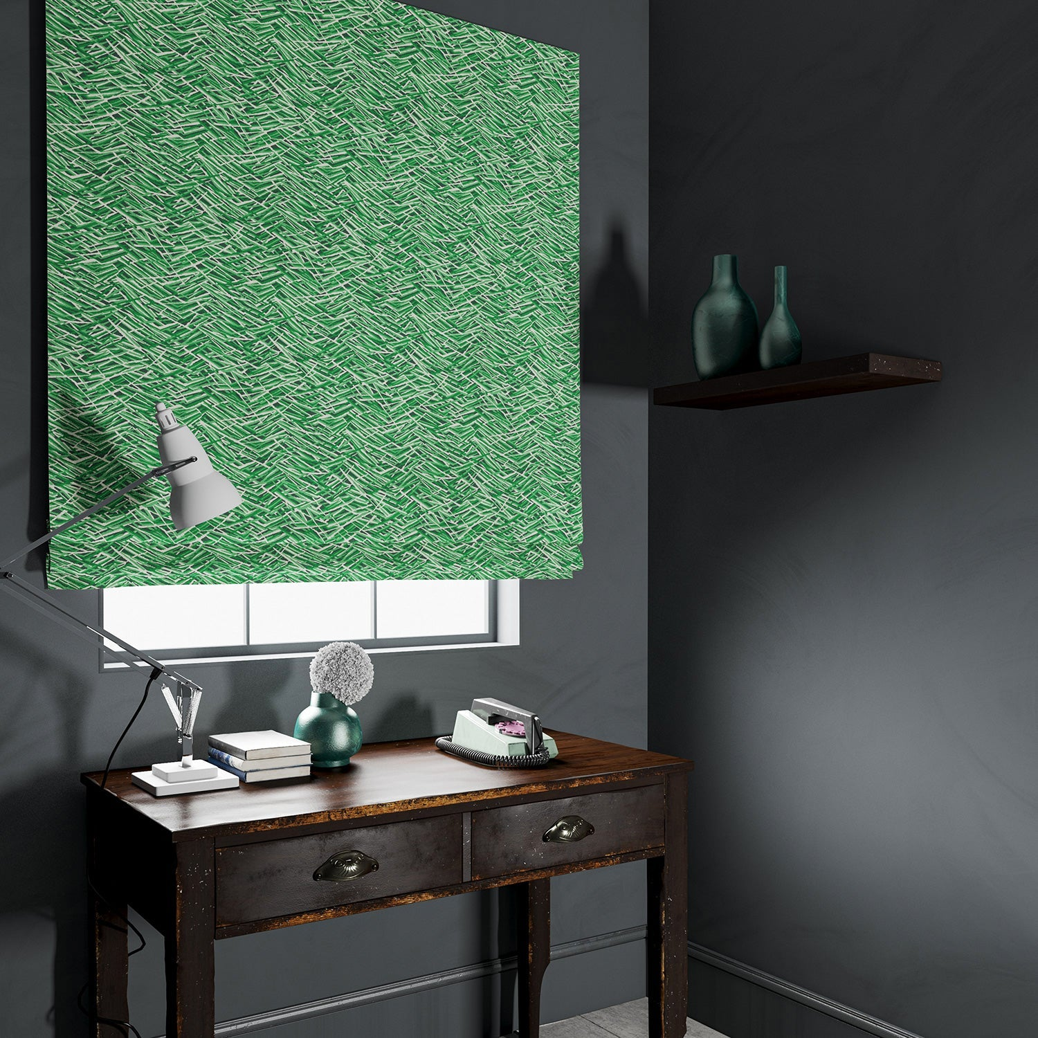 Blind in a luxury green velvet fabric with abstract design