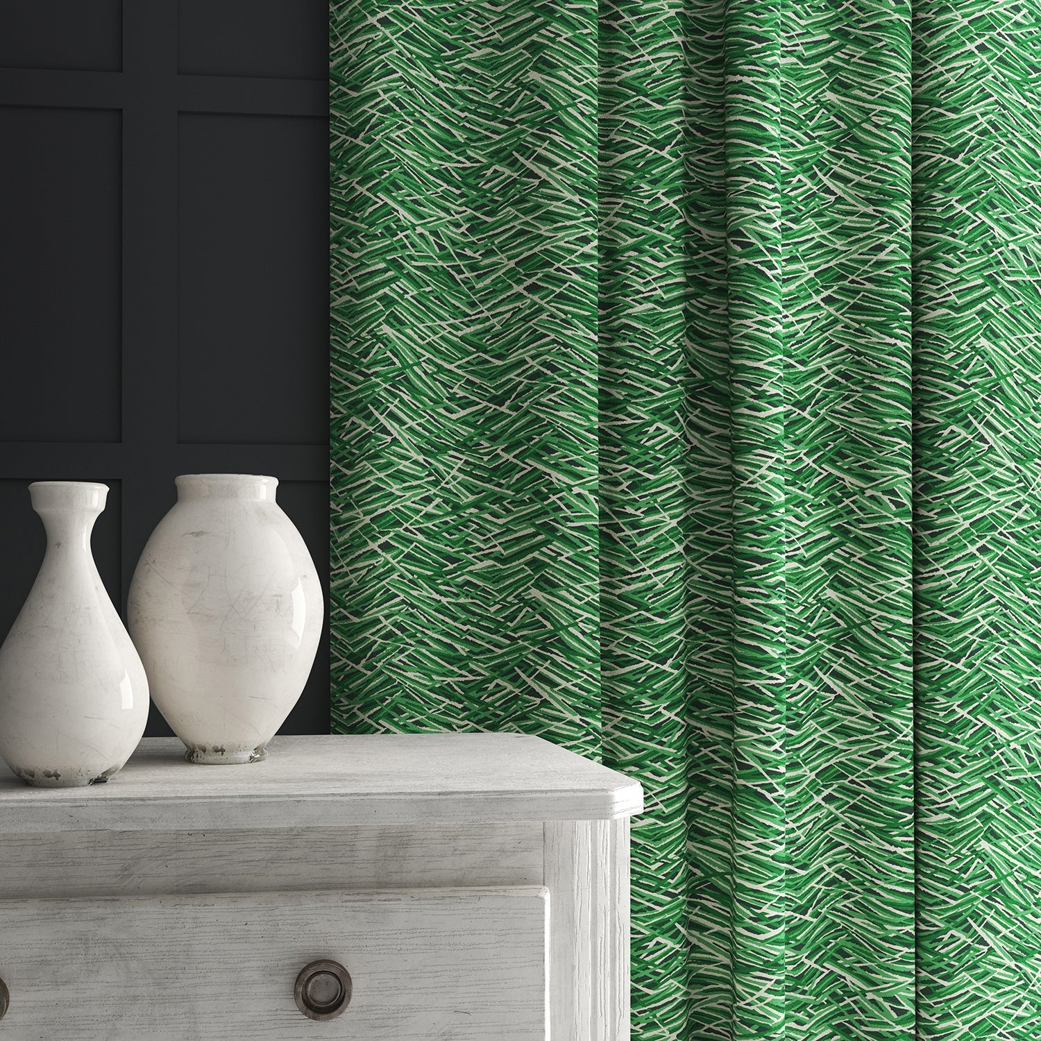 Curtain in a luxury green velvet fabric with abstract design