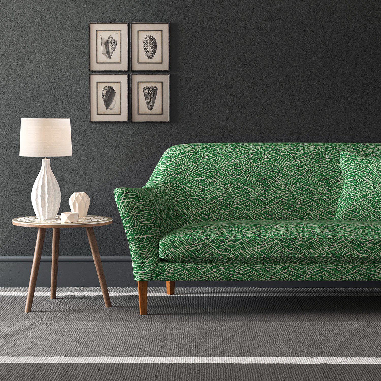 Velvet sofa in a green velvet sofa with stain resistant finish and abstract design