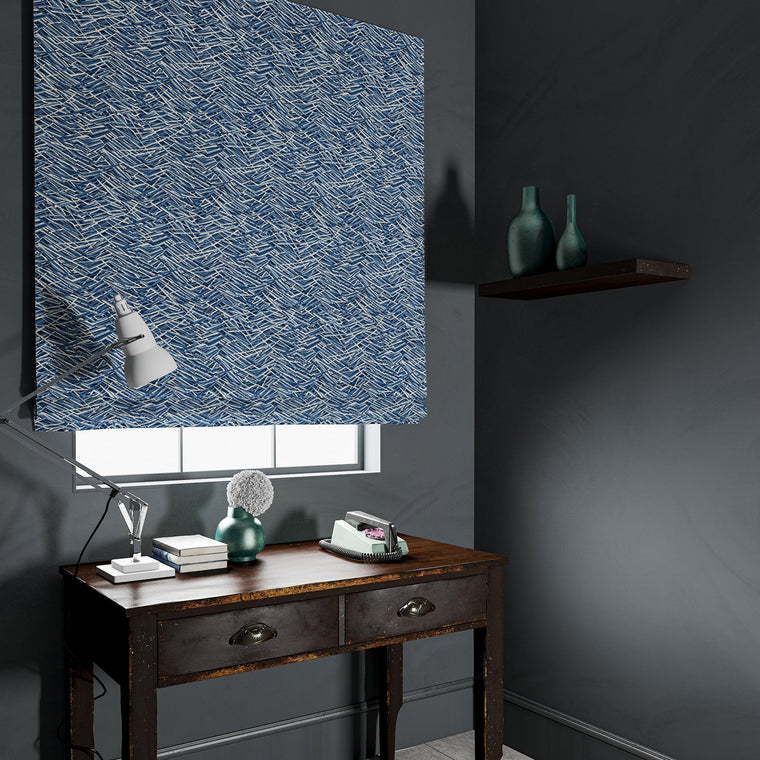 Velvet blind in a luxury blue velvet fabric with abstract design