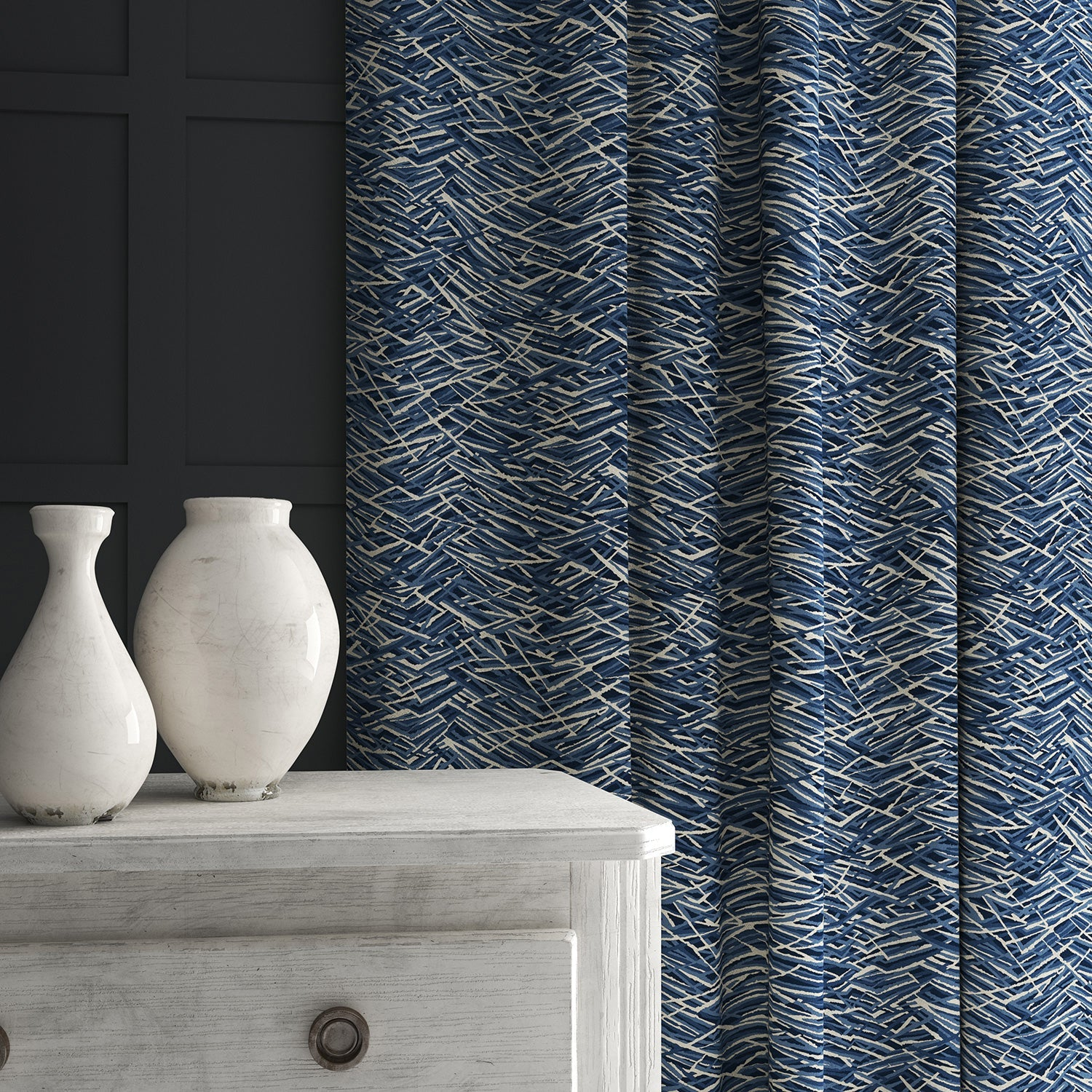 Velvet curtain in a luxury blue velvet fabric with abstract design