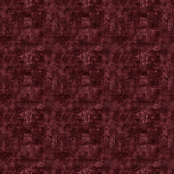 Dark red velvet fabric with a carpet design and stain resistant finish