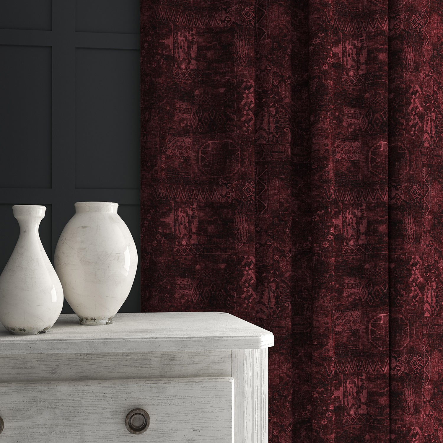 Velvet curtain in a dark red velvet fabric with a contemporary carpet design