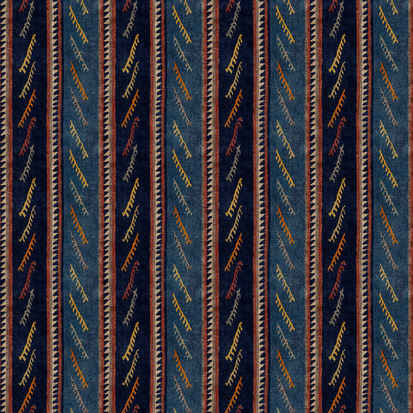 Striped velvet fabric in dark blue colours with a stain resistant finish