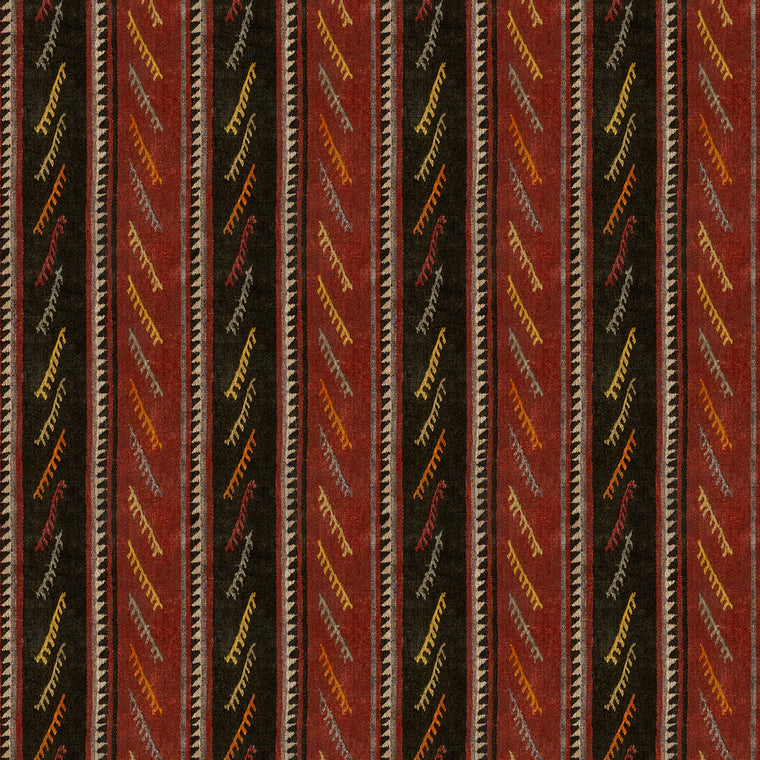 Striped velvet fabric in dark red and brown colours with a stain resistant finish