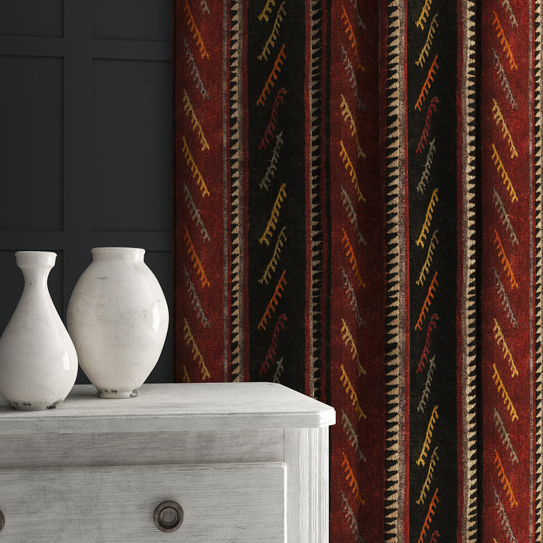 Curtain in a dark red and brown striped velvet fabric